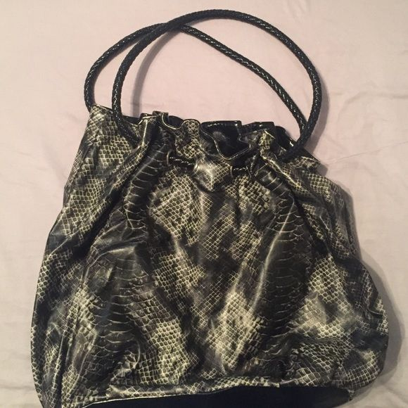 Express SnakeSkin Purse Cute faux snake skin shoulder purse from Express! Very roomy! Great condition! 1ft deep! Express Bags Shoulder Bags
