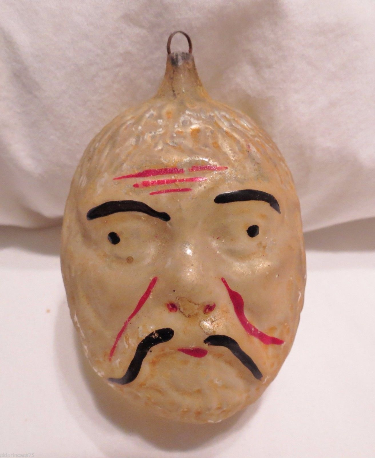 Asian christmas ornaments - Details About Antique Christmas Ornament Blown Glass Character Head Walnut Asian Man Warrior