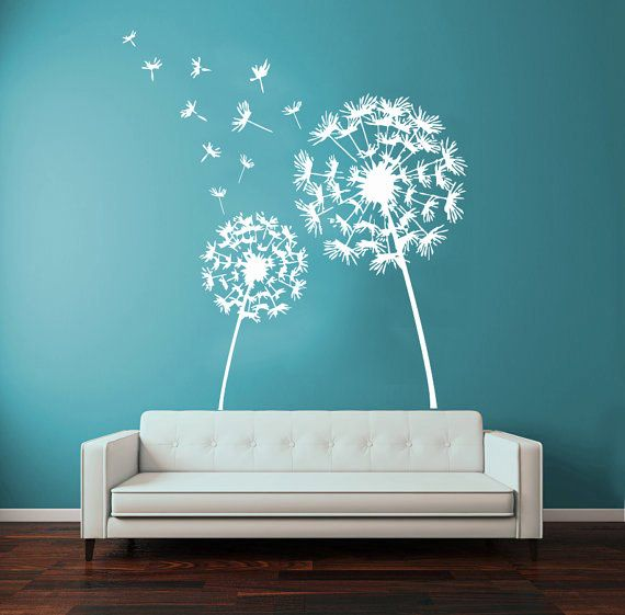dandelion wall decals flower blossom flowering art mural on wall stickers for living room id=22850