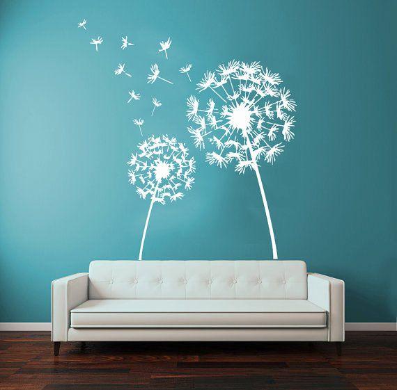 Dandelion wall decals flower blossom flowering art mural - Wall sticker ideas for living room ...