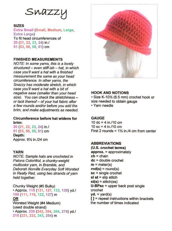 CROCHET PATTERN: The Snazzy Hat for Men and Women, Instant Download ...