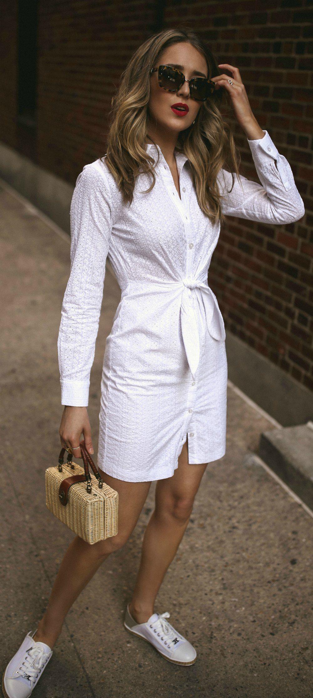 White Eyelet Long Sleeve Tie Waist Mini Shirt Dress Dark Wash Denim Jacket White Espadrille Sneakers Small S White Dress Outfit Casual Dress Outfits Fashion [ 2231 x 1000 Pixel ]