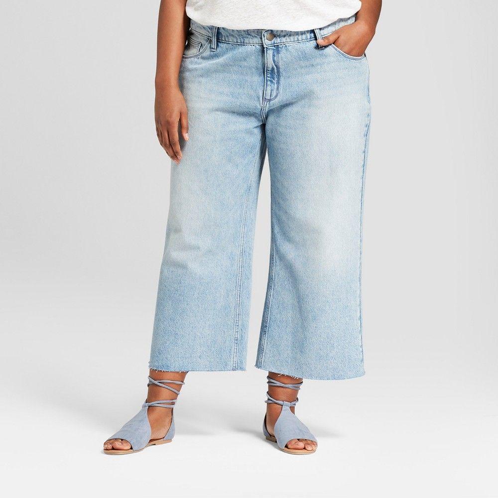 4b5e7ad3bb54 Women's Plus Size Wide Leg Crop Jeans - Universal Thread Light Wash 18W,  Blue