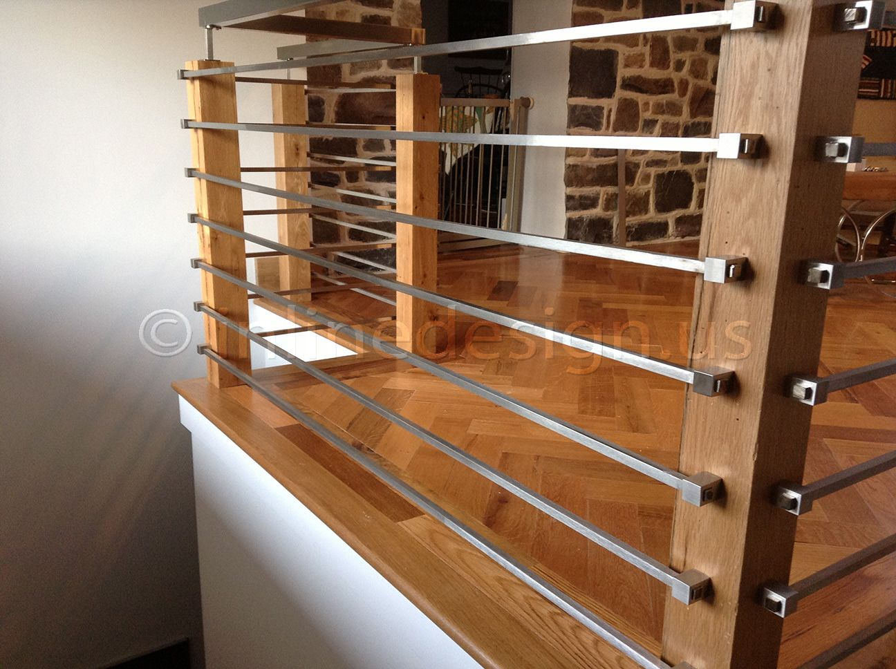 Metal And Wood Modern Railings The Nancy Album Modern | Wood And Metal Handrail | Farmhouse | Contemporary | Indoor | Industrial | Modern