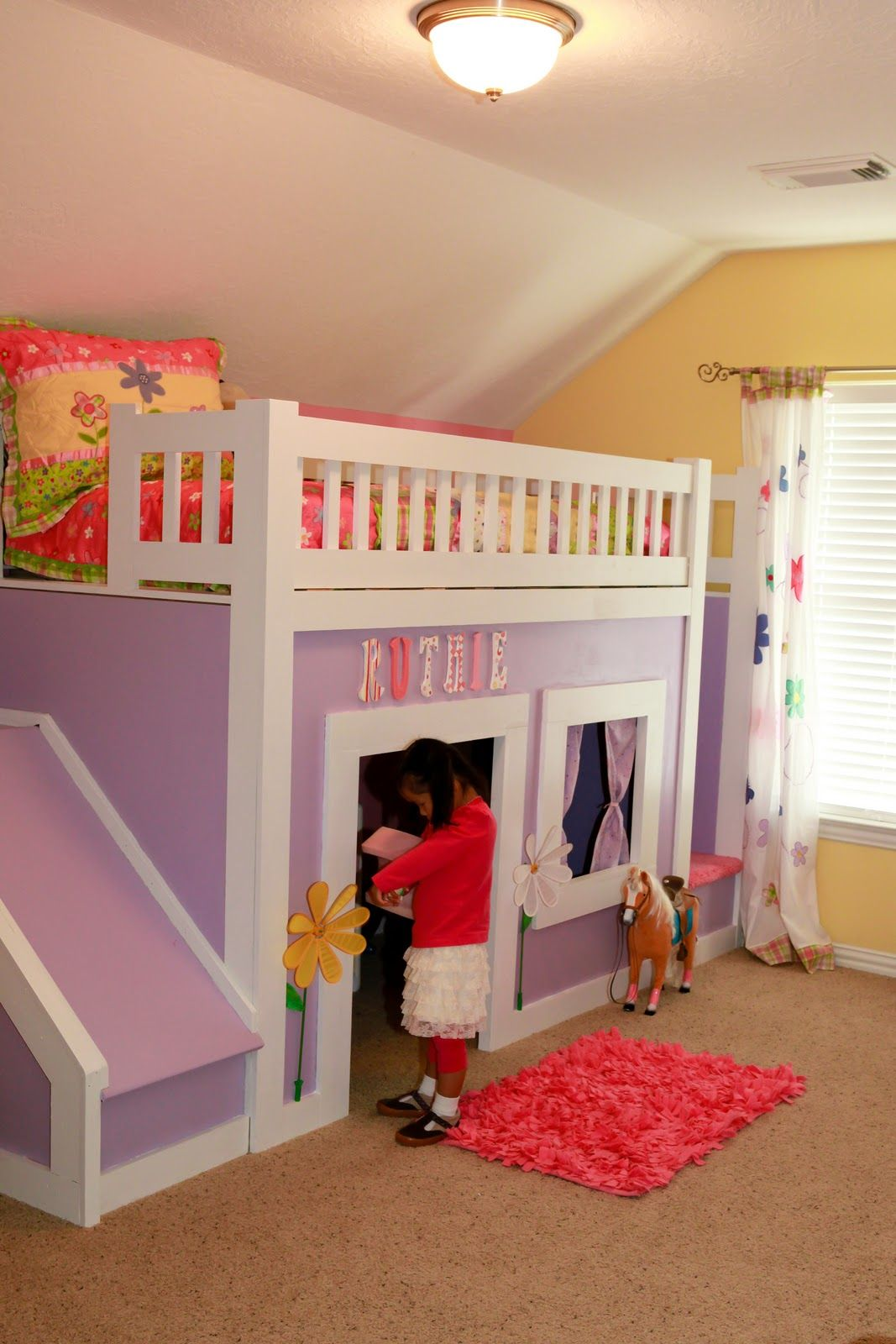 Princess Bed With Stairs And Slide Do It Yourself Home Projects From Ana White Bunk Bed With Slide Kid Beds Bunk Beds With Stairs