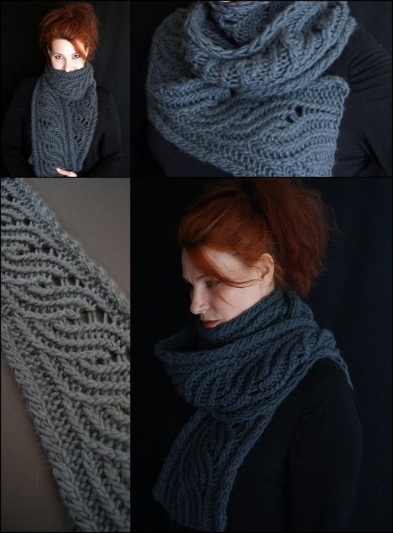 PDF hand knitting pattern for Maelstrom scarf - super duper bulky