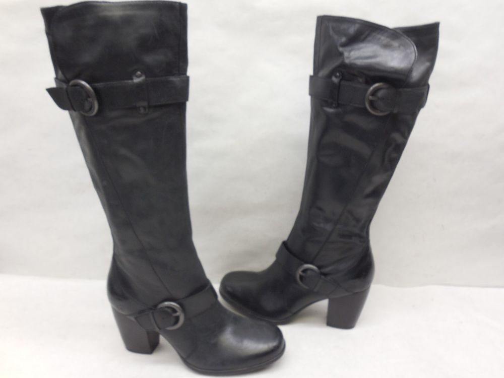 933922b1054 New Born D09209 Black Rimes Leather Tall Knee High Heel Boots Shoes Size 9  40.5…