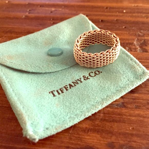 Authentic Tiffany mesh ring; size 6 Beautiful; comes with pouch Tiffany & Co. Jewelry Rings