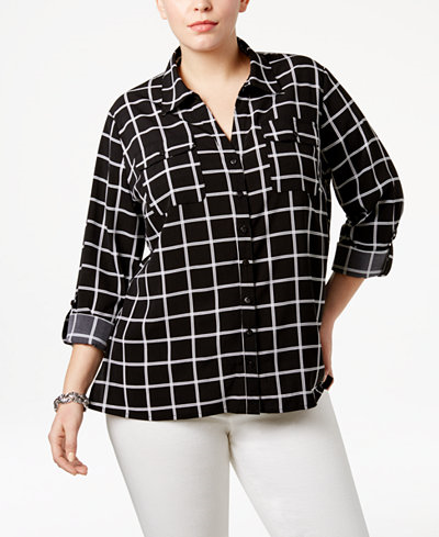 27.99$  Watch here - http://vijur.justgood.pw/vig/item.php?t=3vcb9cs54643 - Plus Size Plaid Utility Blouse