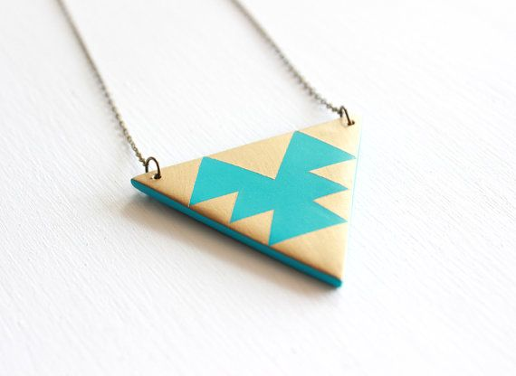 Geometric Aztec Triangle Necklace, Polymer Clay Pendant Necklace, Tribal Necklace on Etsy, $34.00