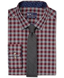 Bar Iii Carnaby Collection Slim Fit Maroon Medium Gingham Dress Shirt And Badger Solid Skinny