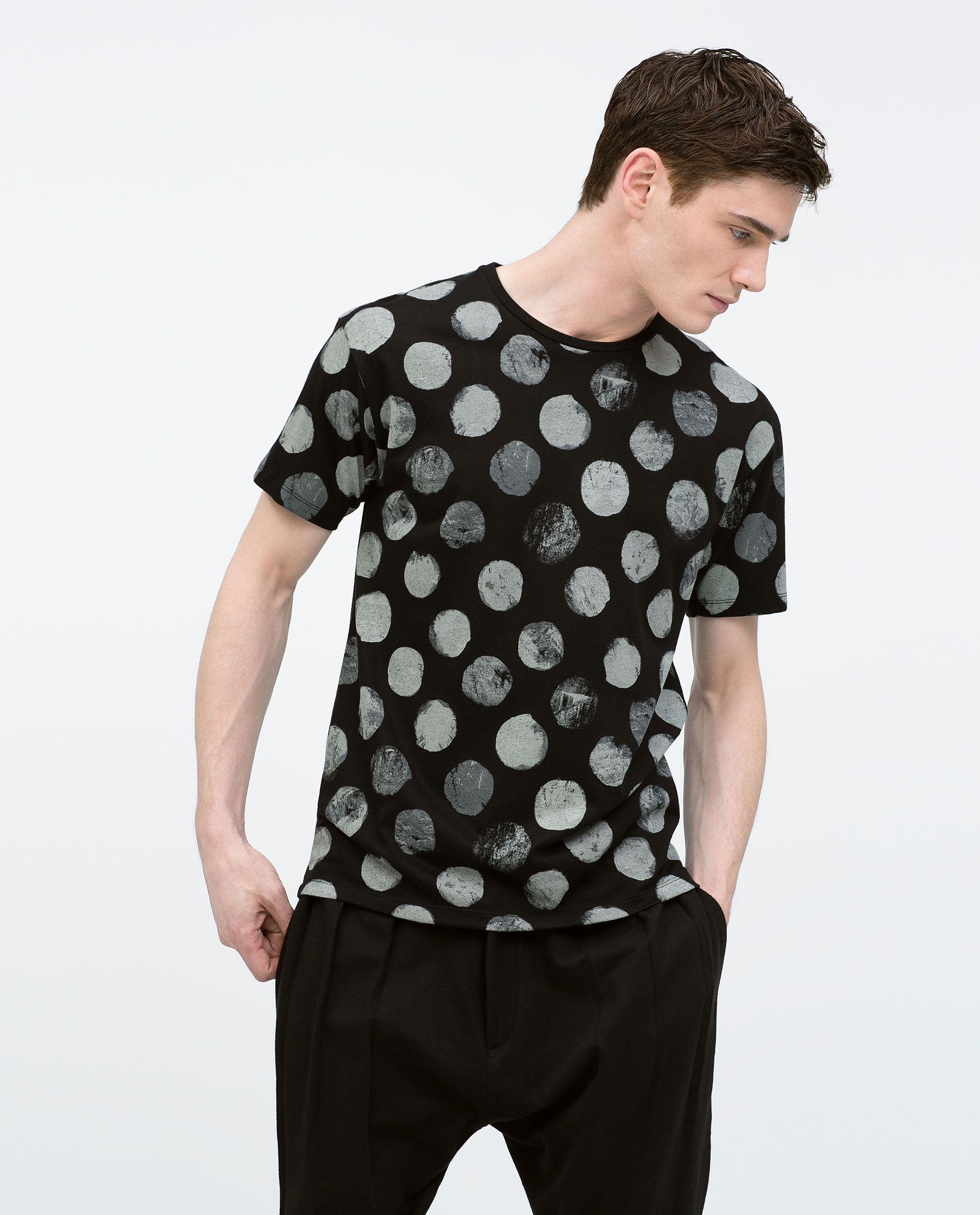 Polka Dot Printed T Shirt View All T Shirts Man Mens