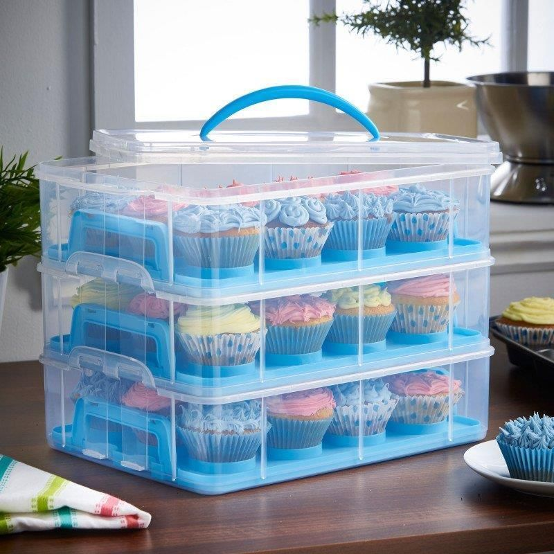 Details about 3tier blue cupcake carrier container holder