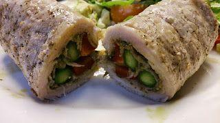 Pork role ups with greens and pesto