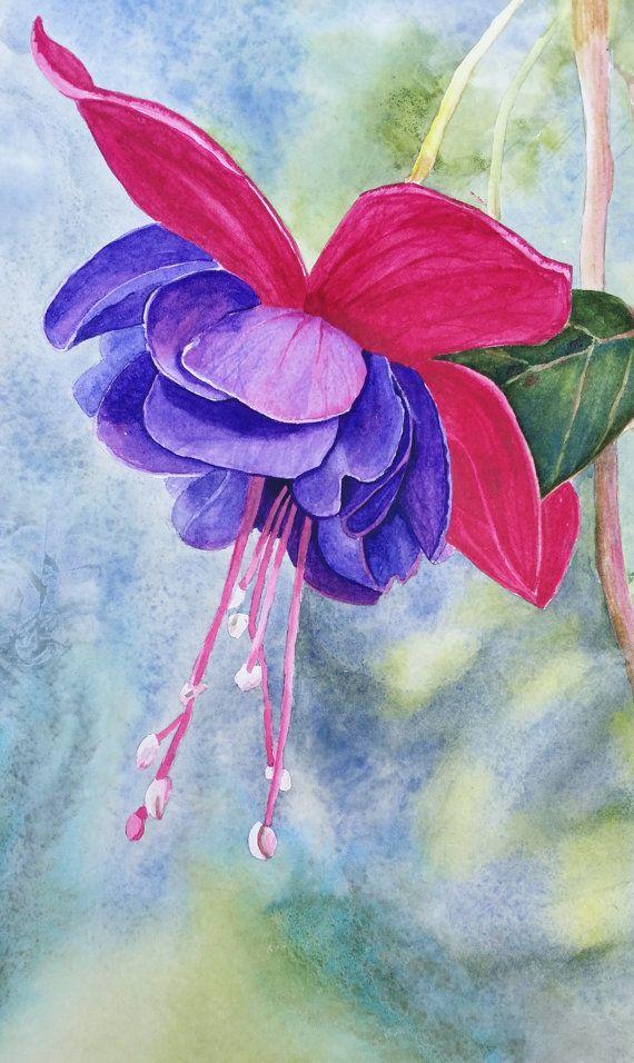 Fuchsia Watercolor Print From Original Art Painting Summer Flower Home Decor Botanical P Watercolor Flowers Art Painting Watercolor Flowers Paintings