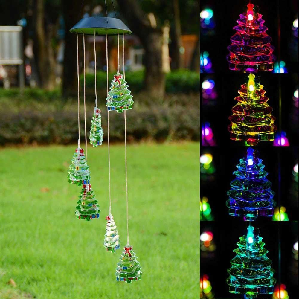 Solar Color Changing LED Wind Chime Decor Light Christmas Tree ...