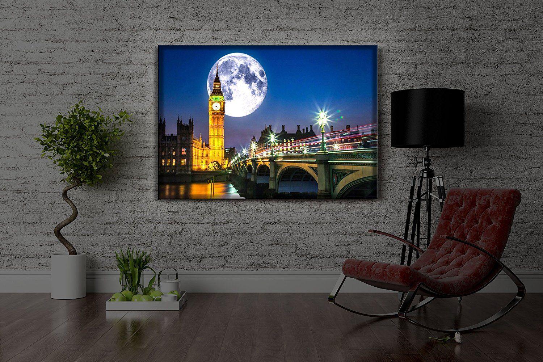 Leuchtbild Led Leinwandbild Mit Farbwechsel Big Ben Vor Vollmond In London Made In Germany 100x70 Cm Amazon De Leuchtbilder Farbwechsel Leinwandbilder