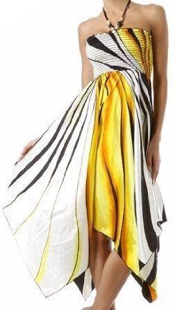 Swirl Design Satin Feel Beaded Halter Smocked Bodice Handkerchief Hem Dress (2 Colors)  $30