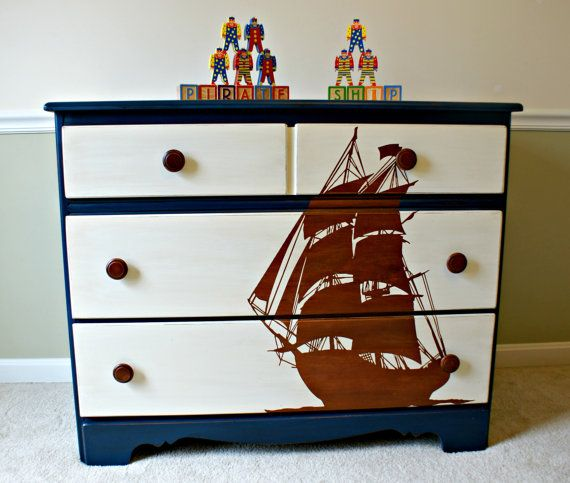 Pirate Ship Stencil Blue Dresser/Kids Bedroom Furniture/Boy Furniture/Toy  Chest On
