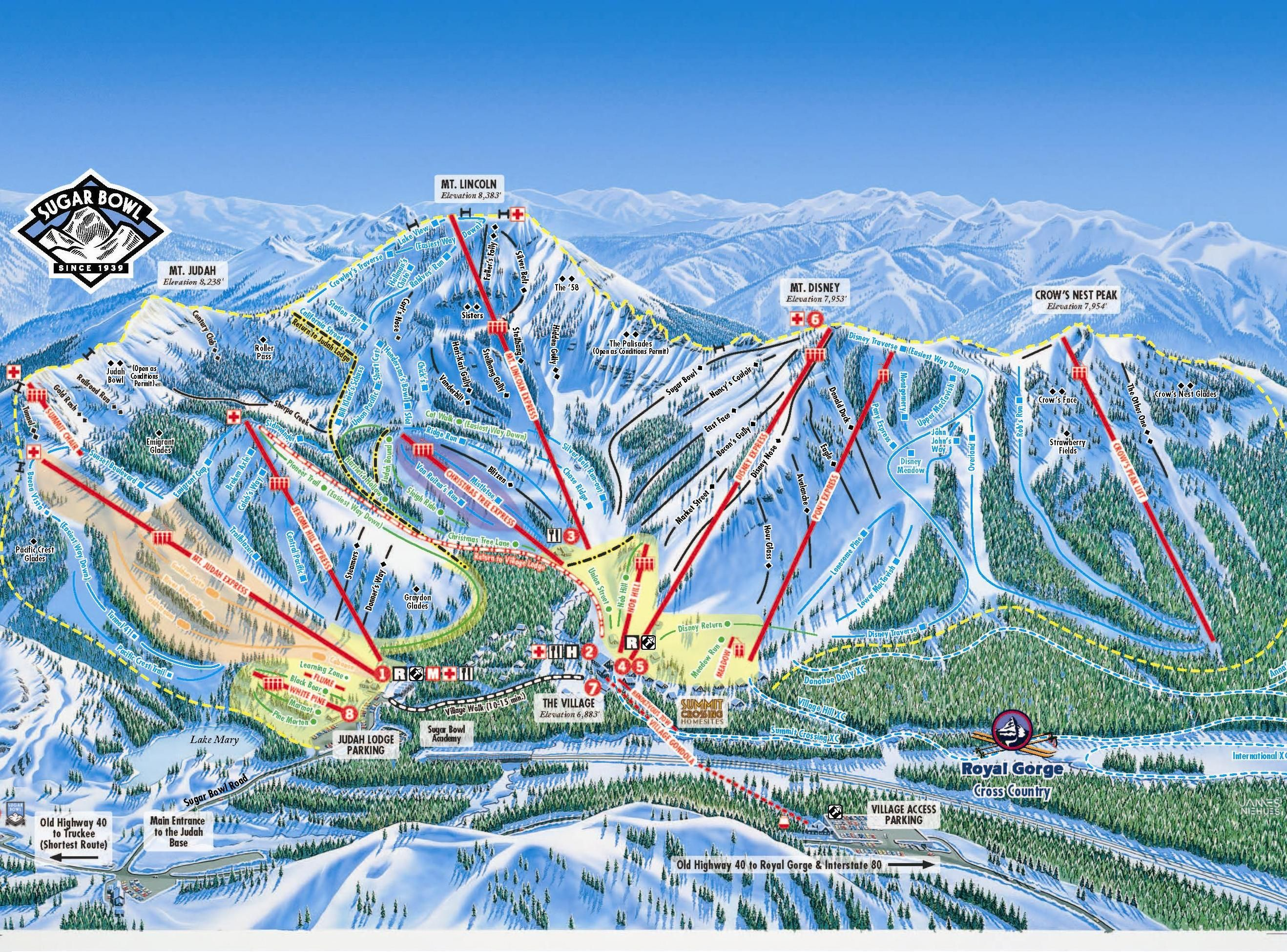 Sugar bowl resort map take me there pinterest resorts trail the trail map displaying information on lifts and runs the resort map showing information and location of our 2 lodges the royal gorge cross country map sciox Image collections