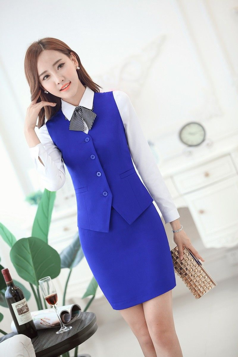Moda mujeres trajes de negocios con falda y chaleco de juegos del chaleco  del desgaste del trabajo femenino delgado para mujer de la ropa estilo de  la ... f7bc70e77b4a