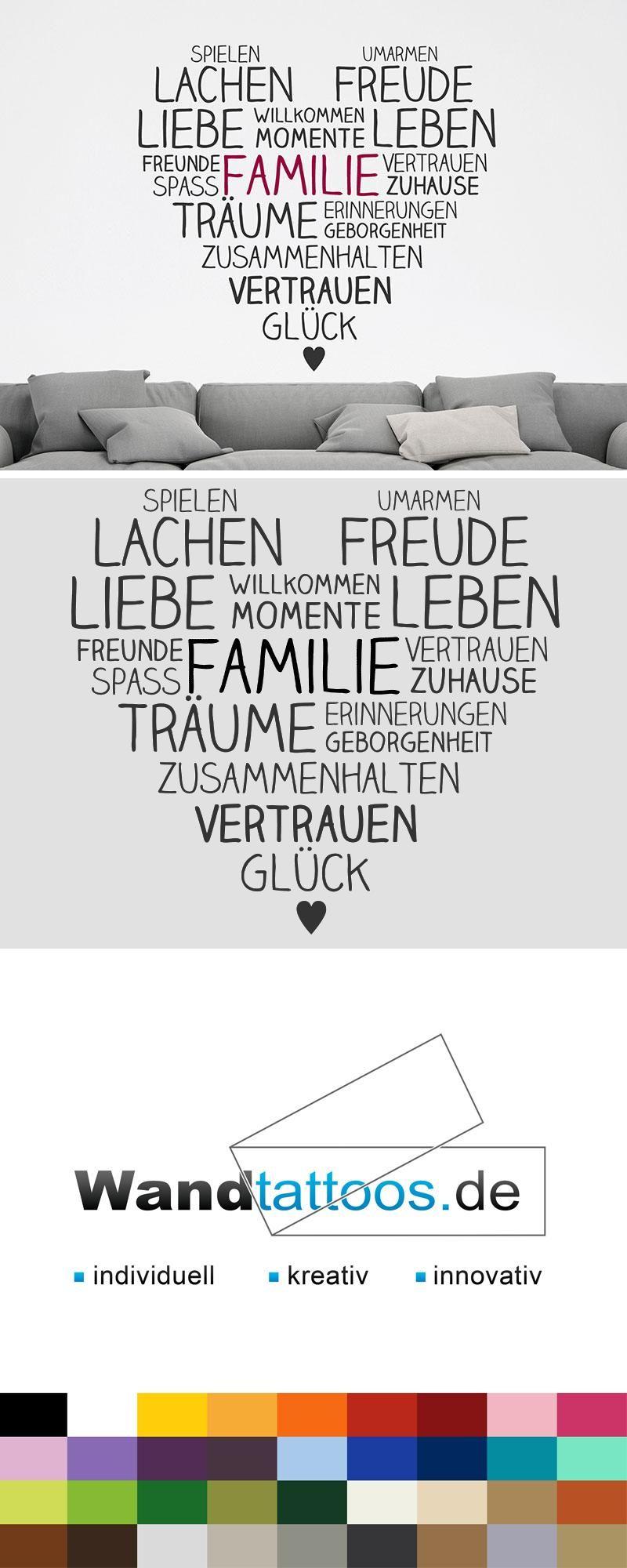 Wandtattoo Familie Im Herzen Als Idee Zur Individuellen Wandgestaltung.  Einfach Lieblingsfarbe Und Größe Auswählen. Weitere Kreative Anregungen Von  ...