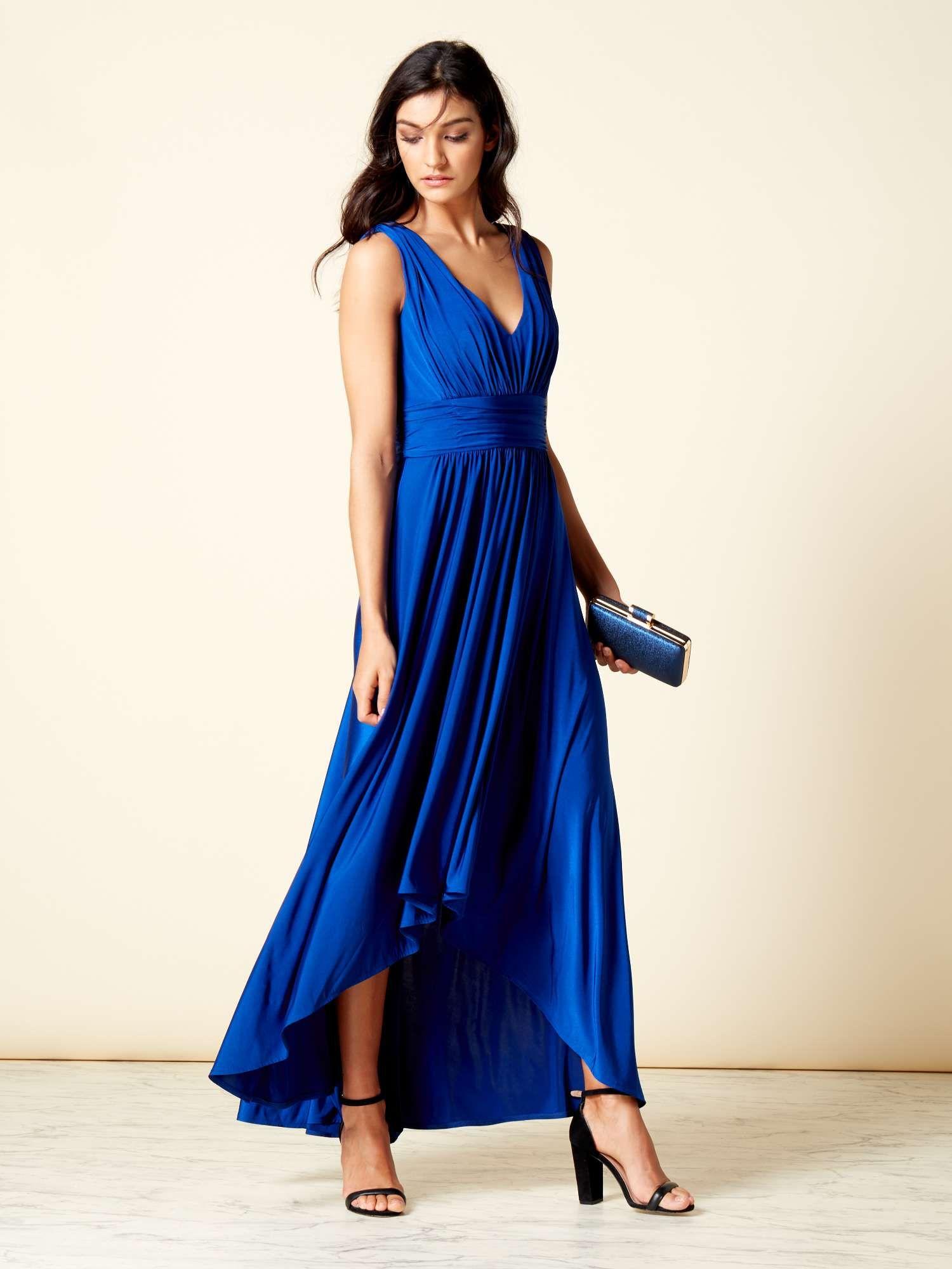 cheapest price performance sportswear size 40 ISSA Carmen Dip Hem Deep V Maxi Dress - House of Fraser ...