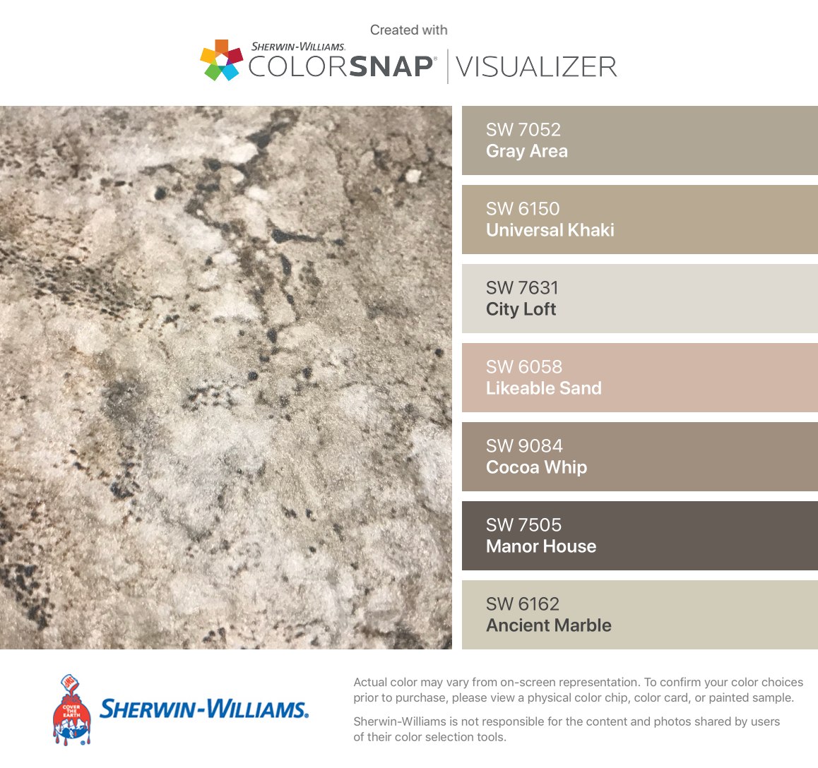 I found these colors with ColorSnap® Visualizer for iPhone by Sherwin-Williams: Gray Area (SW 7052), Universal Khaki (SW 6150), City Loft (SW 7631), Likeable Sand (SW 6058), Cocoa Whip (SW 9084), Manor House (SW 7505), Ancient Marble (SW 6162). #cityloftsherwinwilliams