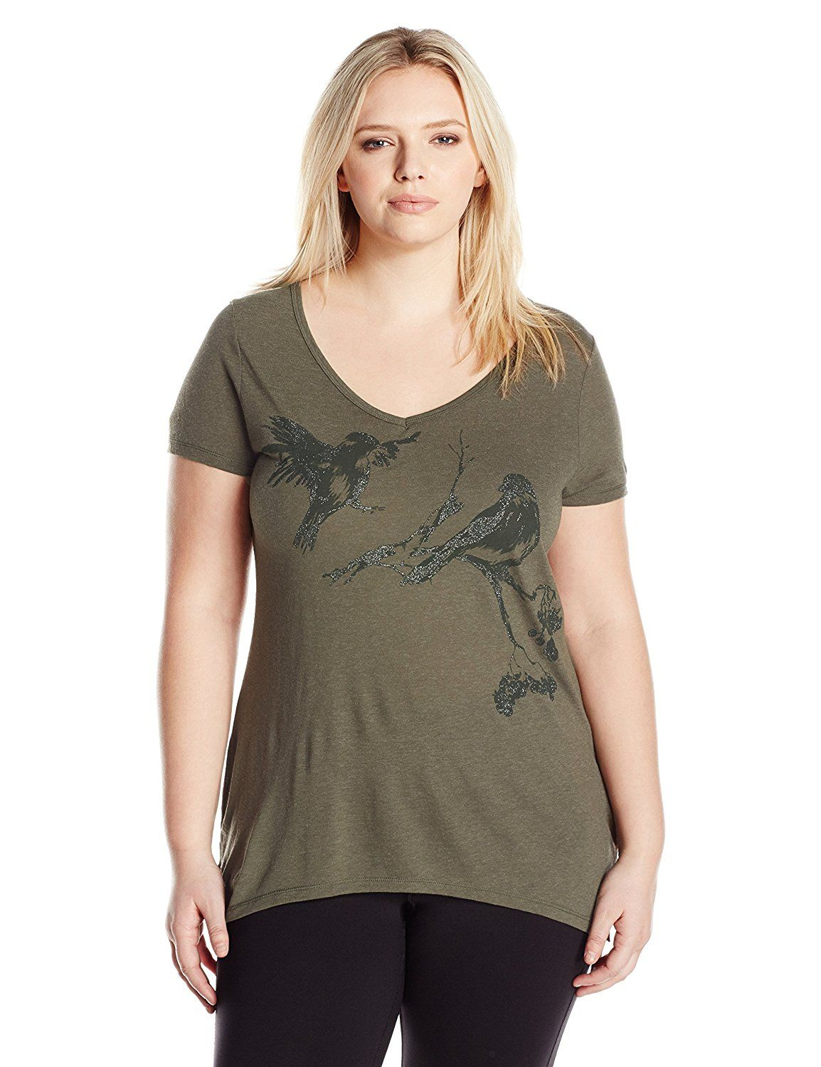12e3d55c2ee Just My Size Women s Plus-Size Short Sleeve Graphic V-Neck Tunic at Amazon  Women s Clothing store