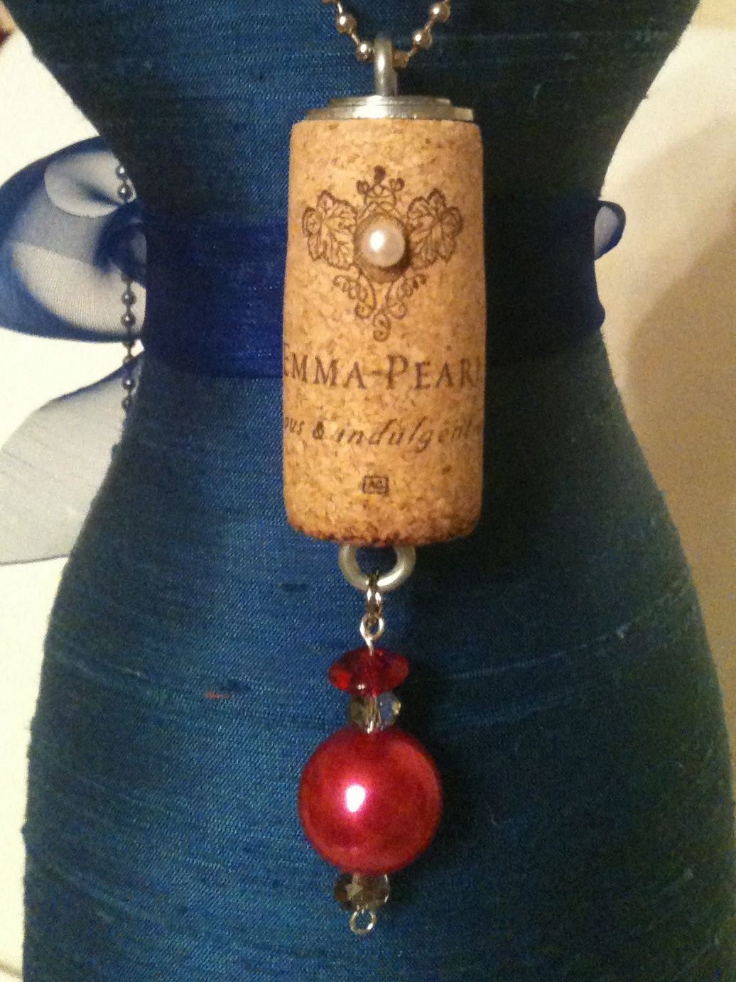 Upcycled Wine Cork Pendant: Emma Pearl