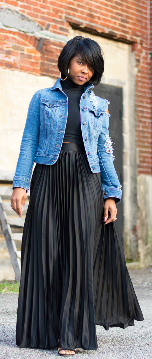 marvelous pleated denim skirt outfit size