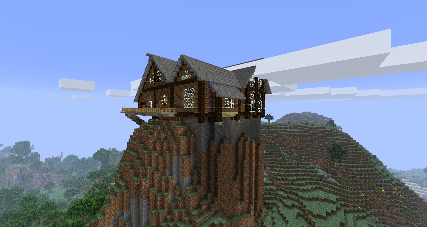My friend's breathtaking mountain cabin/lodge | Minecraft