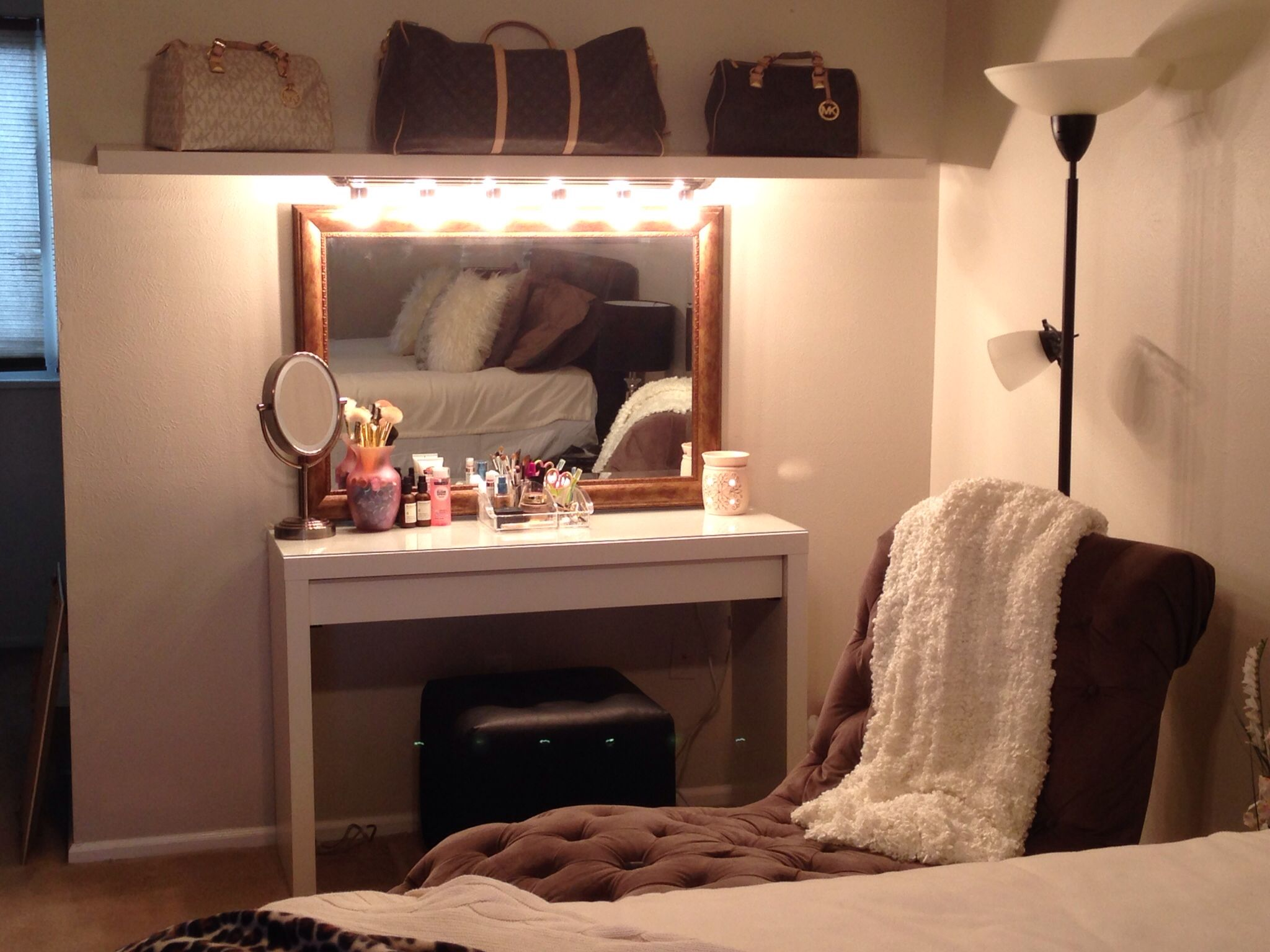 DIY makeup vanity - Malm dressing table with pull out drawer and self from IKEA. Vanity light ...
