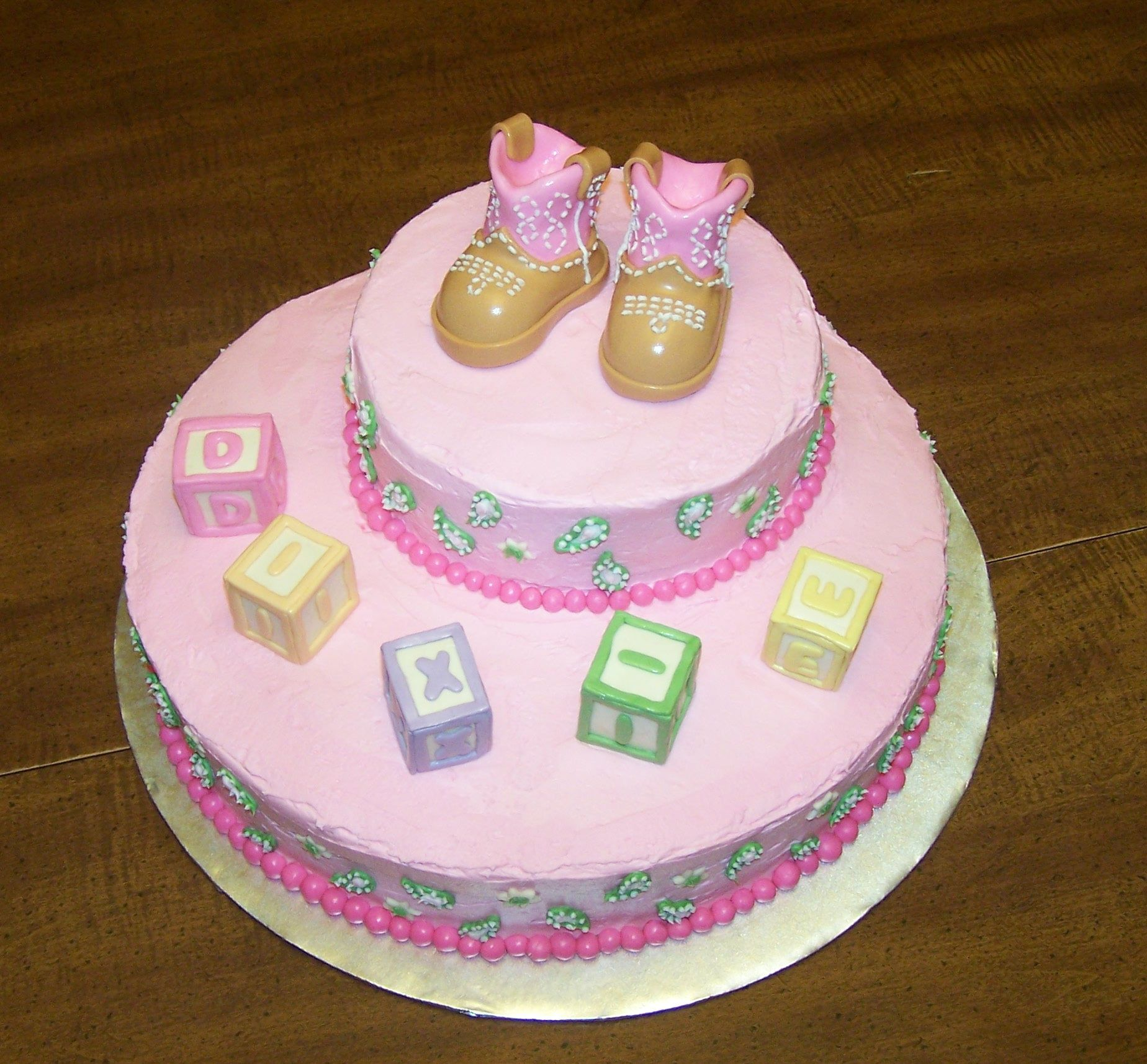 Cowgirl Baby Shower Cakes: Baby Shower Cake With Mm Fondant Abc Blocks Spelling Baby