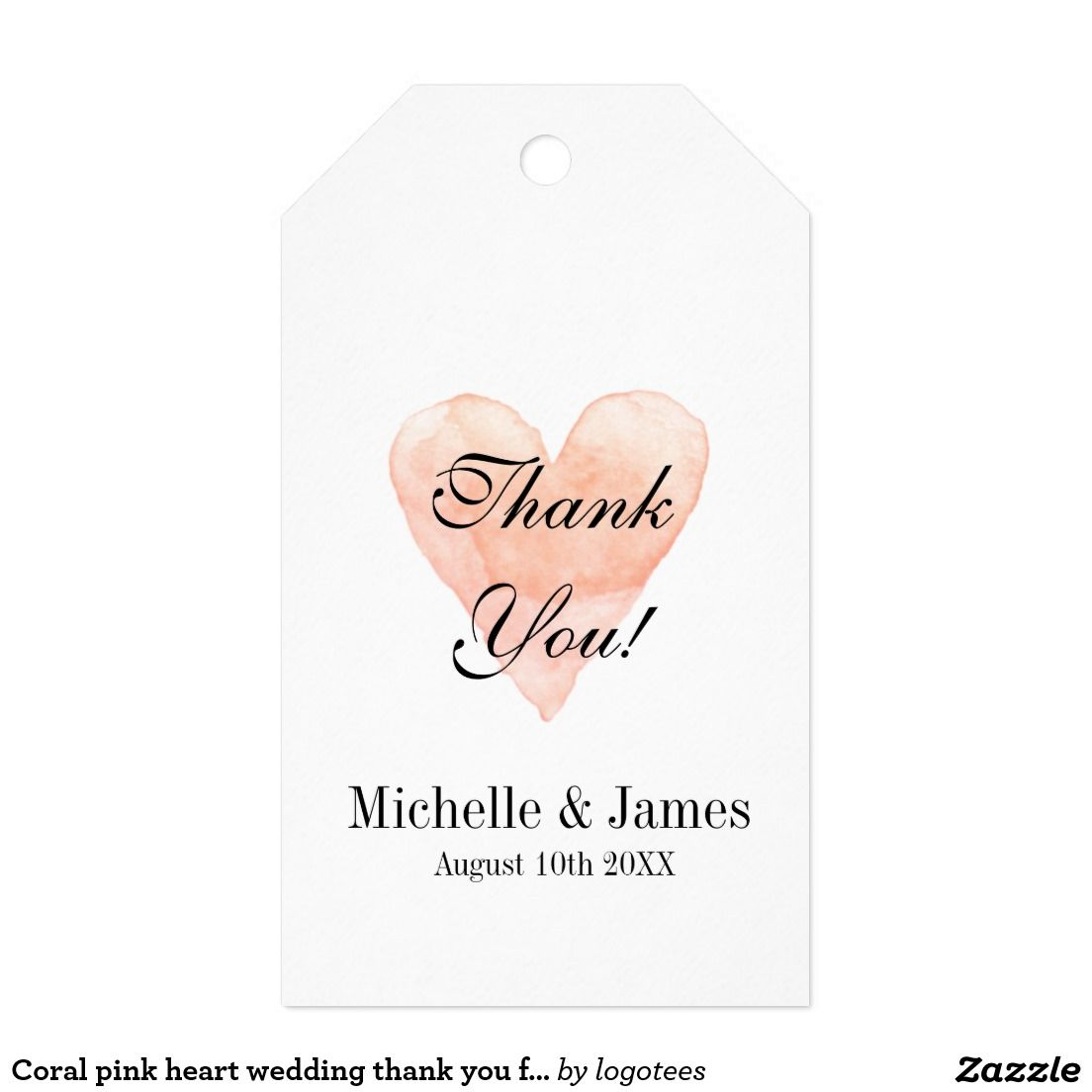 Coral pink heart wedding thank you favor gift tags | Pink, Heart and ...