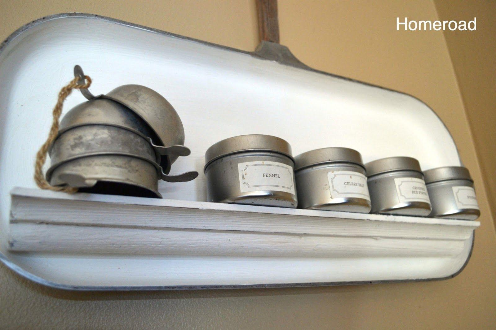 Vintage Aluminum Pan turned spice shelf!    homeroad: Vintage Griddle Shelf