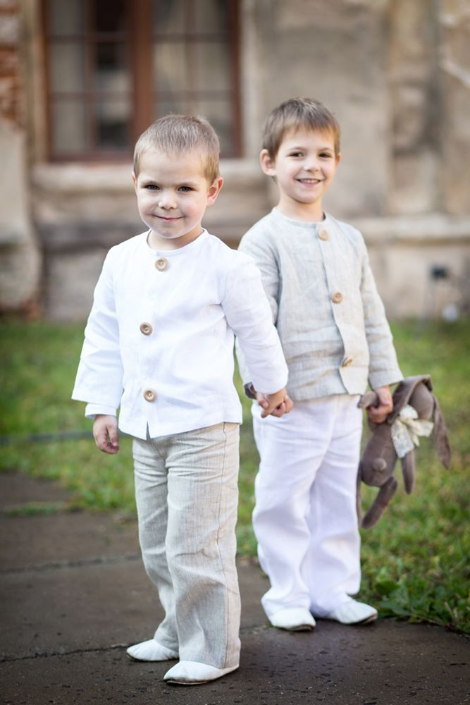 Rustic Ring Bearer Outfit Linen Boy Suit Beach Wedding Ring