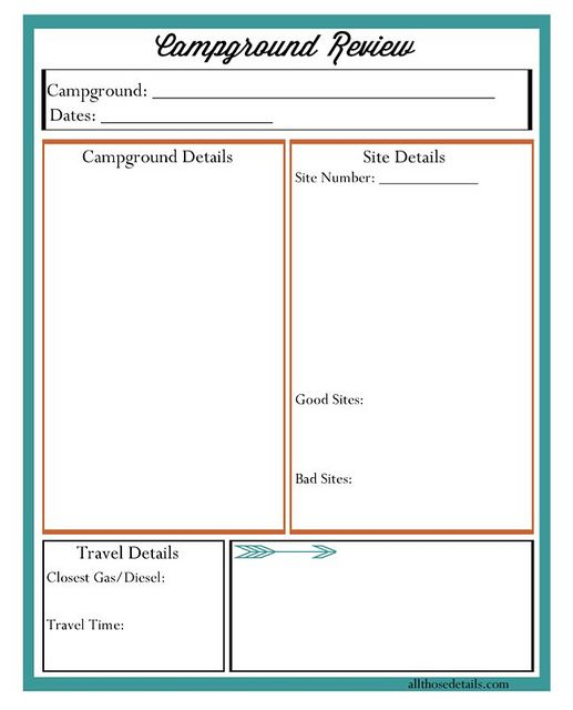 A Free Printable Campground Review To Keep Track Of Where