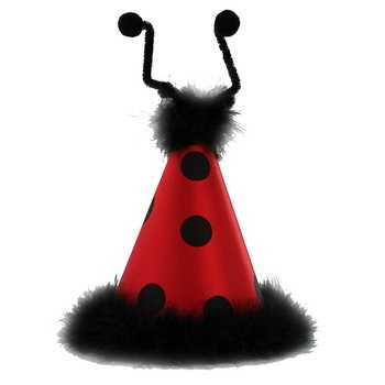 Red Black Ladybug Party Hat With Feathers