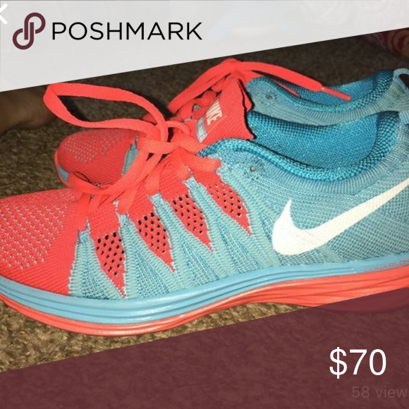 6507f4098ca5 Nike flyknit lunar running shoes Pink and blue Nike Shoes Athletic Shoes