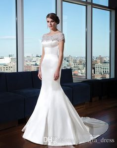 Mermaid Wedding Dresses Bateau Neckline With Sparkle Crystal Beaded And Back Stain Bridal Gown Charming Romantic
