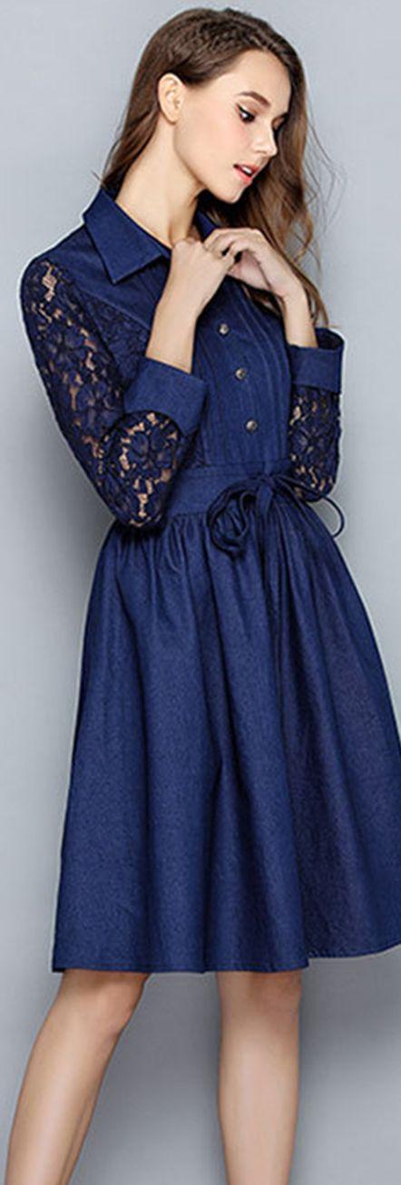 Dark Blue Lace-paneled A-line Shirt Dress