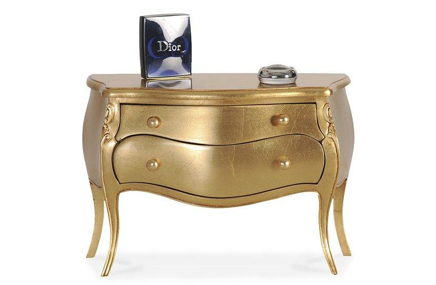 Mini-Kommode #Barock - Mahagoni #massiv - gold - lackiert Rococo - schlafzimmer barock