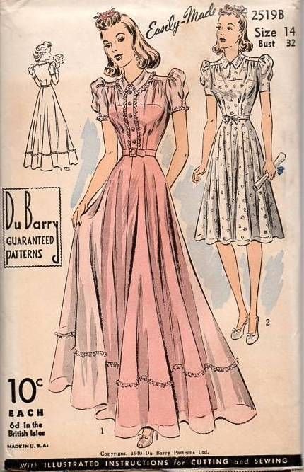 DuBarry 2519B Vintage Sewing Pattern Rare 1940 Gown Dress Debutante ...