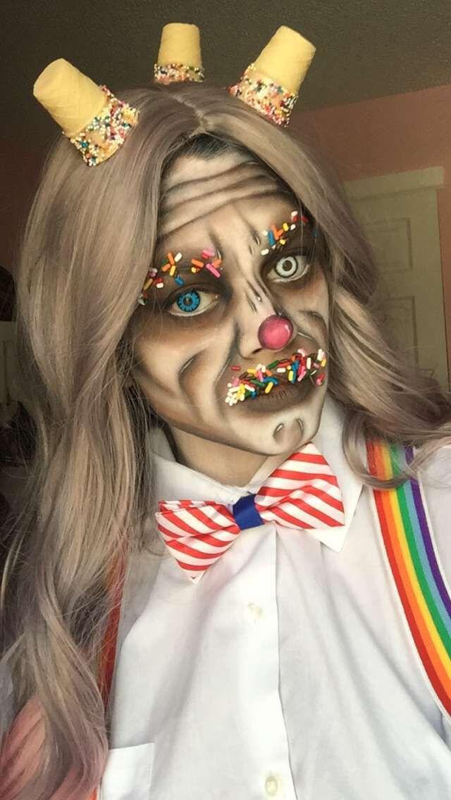 "This ""Ice Cream Man "" makeup was created by Faceoff Matt Valentine.  Self application window lighting   More details on Joy_mariemua & StarstoSkulls on Instagram"