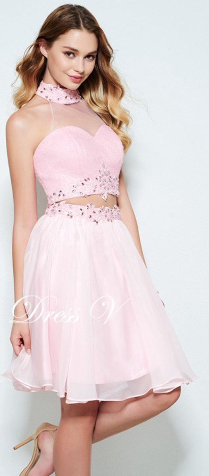Dressv aline beading ruched homecoming dress pink halter neck above