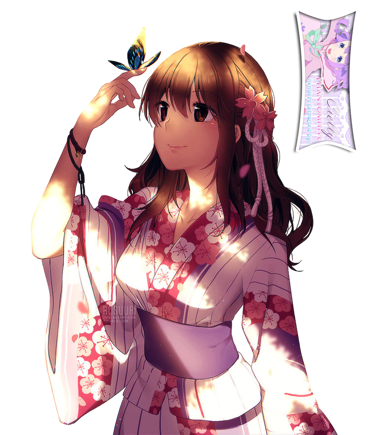 Cute Anime Girl With Brown Hair And Yukata