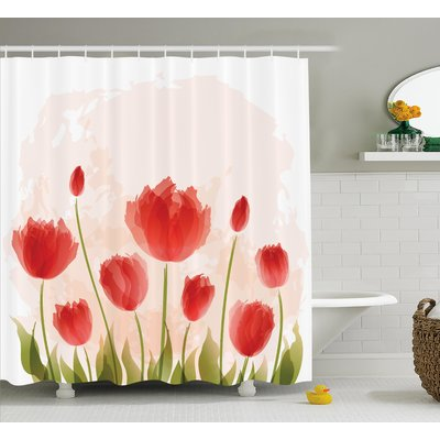 Latitude Run Bazile Romantic Tulip Blossoms Shower Curtain Hooks