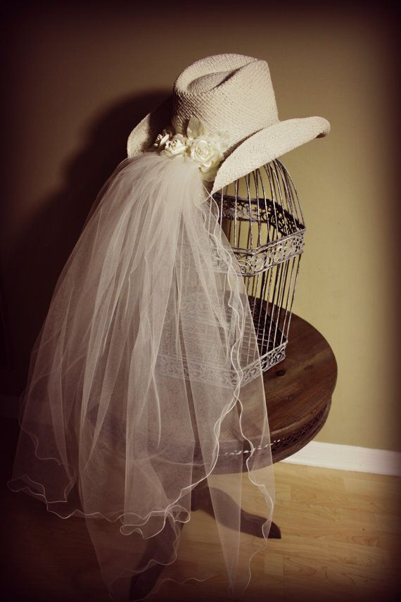 Cowgirl Hat-Ceremony Hat with Veil and Pearl Band-Comes in Ivory or ... e6f0584ccfda