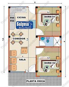 planos de casas de dos pisos de 8×8